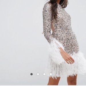 ASOS Feather Hem Mini Dress